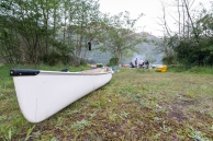 Bishop Creek camp and canoe